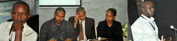 (Left-right) Ali Babiker, Assistant Professor, Plant Genetics Resources Unit-Agricultural Research Corporation pays attention during a lecture; H.E Alsadig Sabah Alkhair, State Minister of Science and Communications; Prof Migdam Elshekh Abdelgani, Director General, National Center for Research-Sudan; Joyce Nzioki, the BecA-ILRI Hub during the opening session; Mark Wamalwa, post-doctoral scientist in bioinformatics, the BecA-ILRI Hub, facilitates a session on bioinformatics