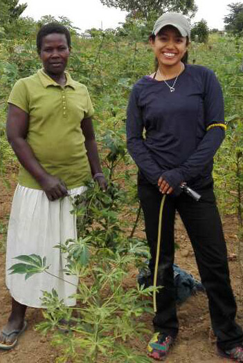 Gabriela Chavez poses with a farmer in Kisumu, Kenya