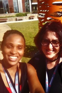 Joyce Nzioki (left) and Fracnesca Stomeo at the Earlham Institute in Norwich, UK